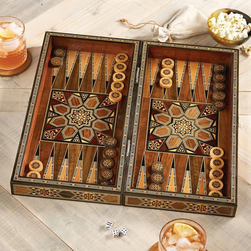Wood mosaic backgammon set, 'Mesopotamian Match' Last minute gift
