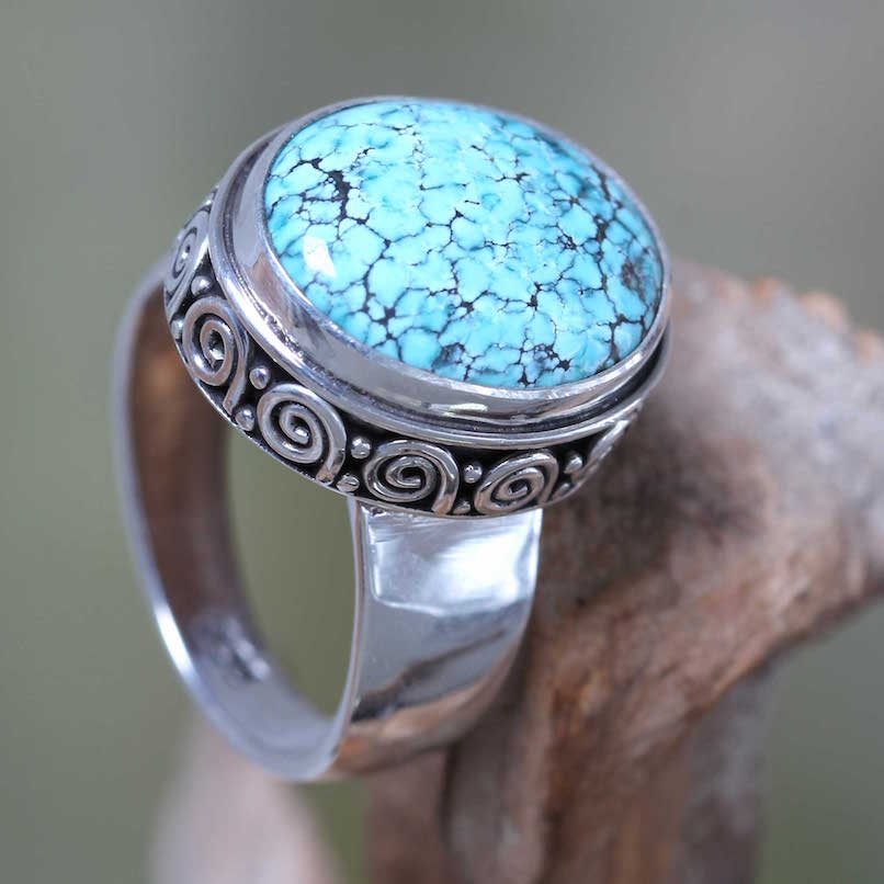 Heavenly Handcrafted Balinese Silver Natural Turquoise Ring, turquoise ring, birthstone ring, turquoise - December's Birthstone, cocktail ring Turquoise - December's Birthstone