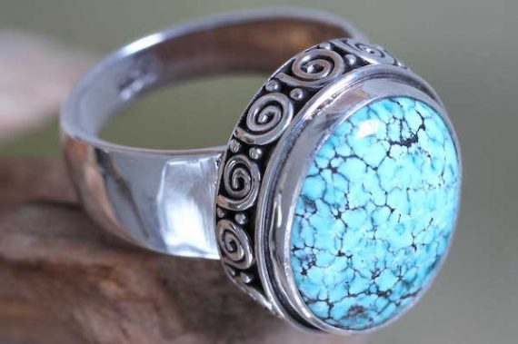 Heavenly Handcrafted Balinese Silver Natural Turquoise Ring, turquoise ring, cocktail ring, birthstone jewelry, turquoise