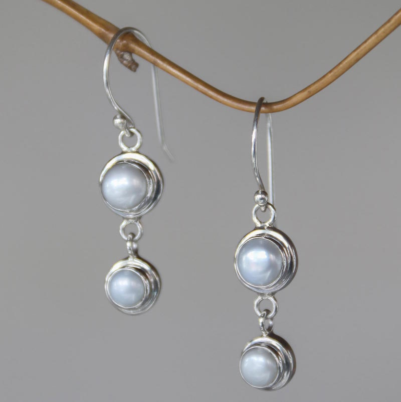 Two Full Moons Pearl Sterling Silver Dangle Earrings earrings, pearl earrings, budget gift, gifts for women, sterling silver Holiday Gift Ideas on a Budget