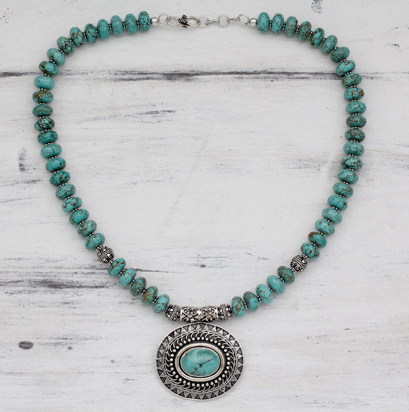 Royal Sky Goddess Natural Turquoise Necklace with Sterling Silver turquoise necklace, December's birthstone jewelry, turquoise, goddess jewelry, Royal Sky Goddess Natural Turquoise Necklace with Sterling Silver
