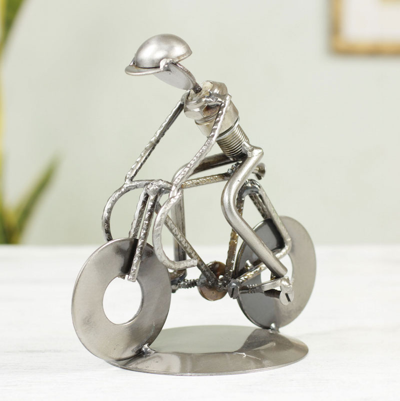 Rustic Cyclist Original Iron Bicycle Statuette Recyled Car Parts Mexico sculpture, metal sculpture, budget gift, fun gift Holiday Gift Ideas on a Budget