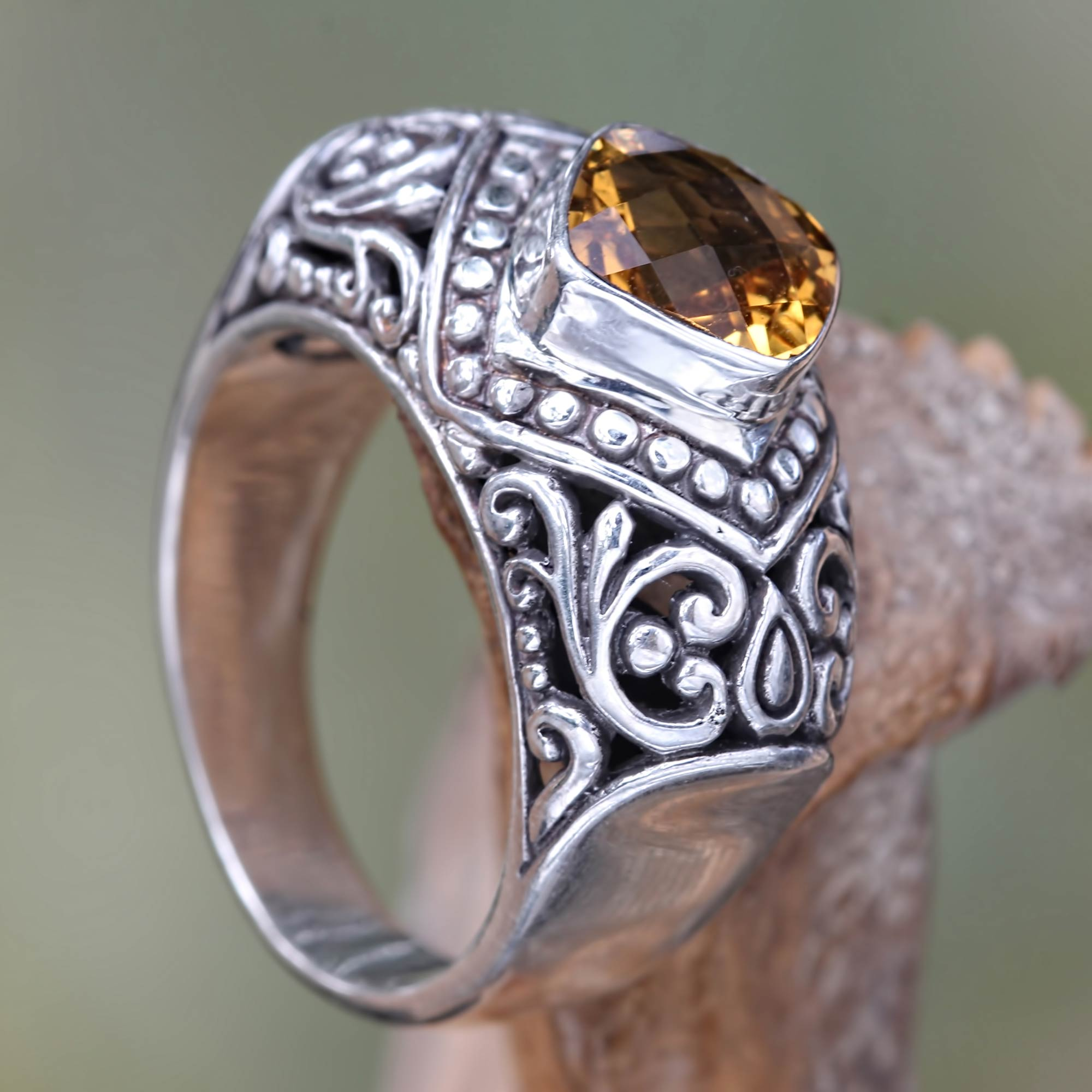 Festive Bali Handcrafted Citrine and Sterling Silver Cocktail Ring November's Birthstone