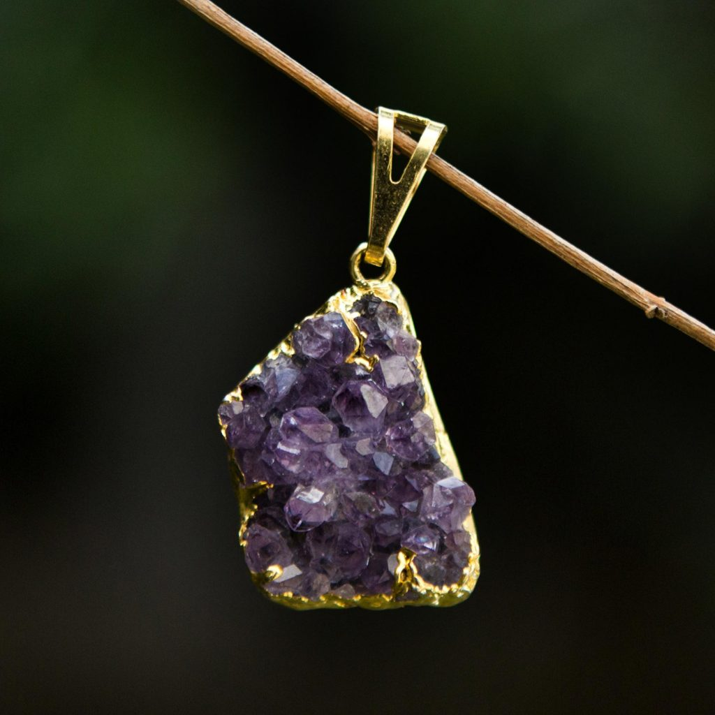 Magnificent Purple Brazilian Uncut Amethyst Crystal Pendant Holiday Gift Ideas Under $25