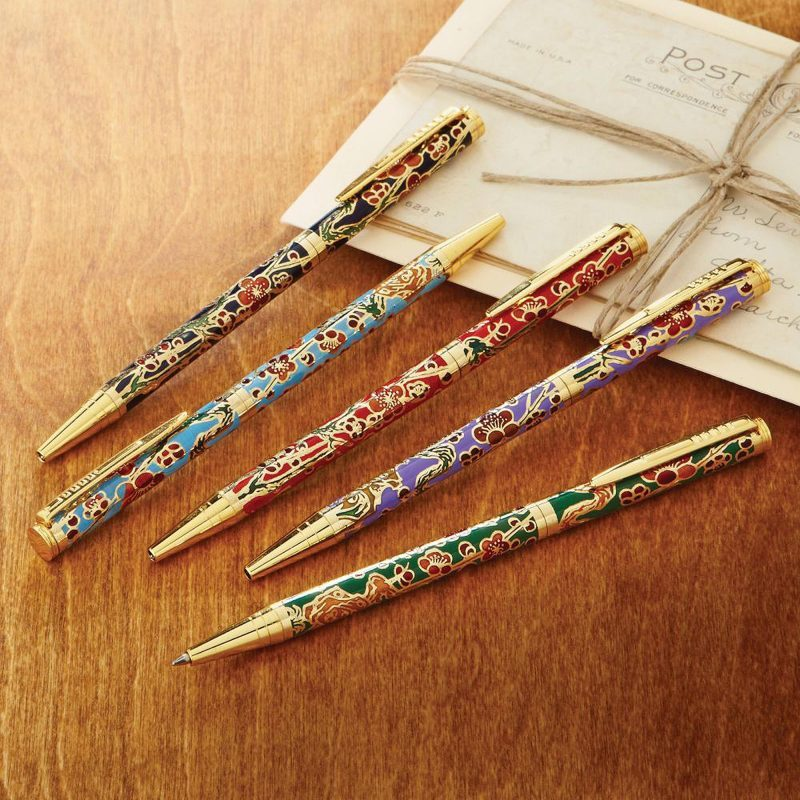 Cloisonne pens, 'Elegant Scribe' (set of 5) Last minute gift