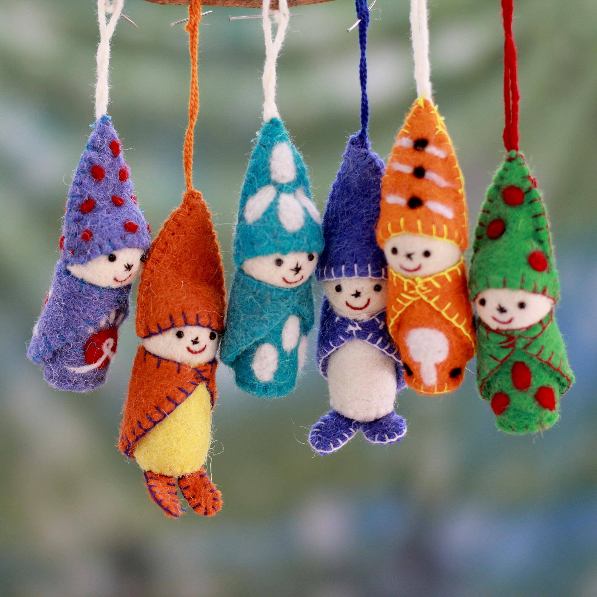 Babes in Snowsuits Set of 6 Handmade Ornaments from India holiday card