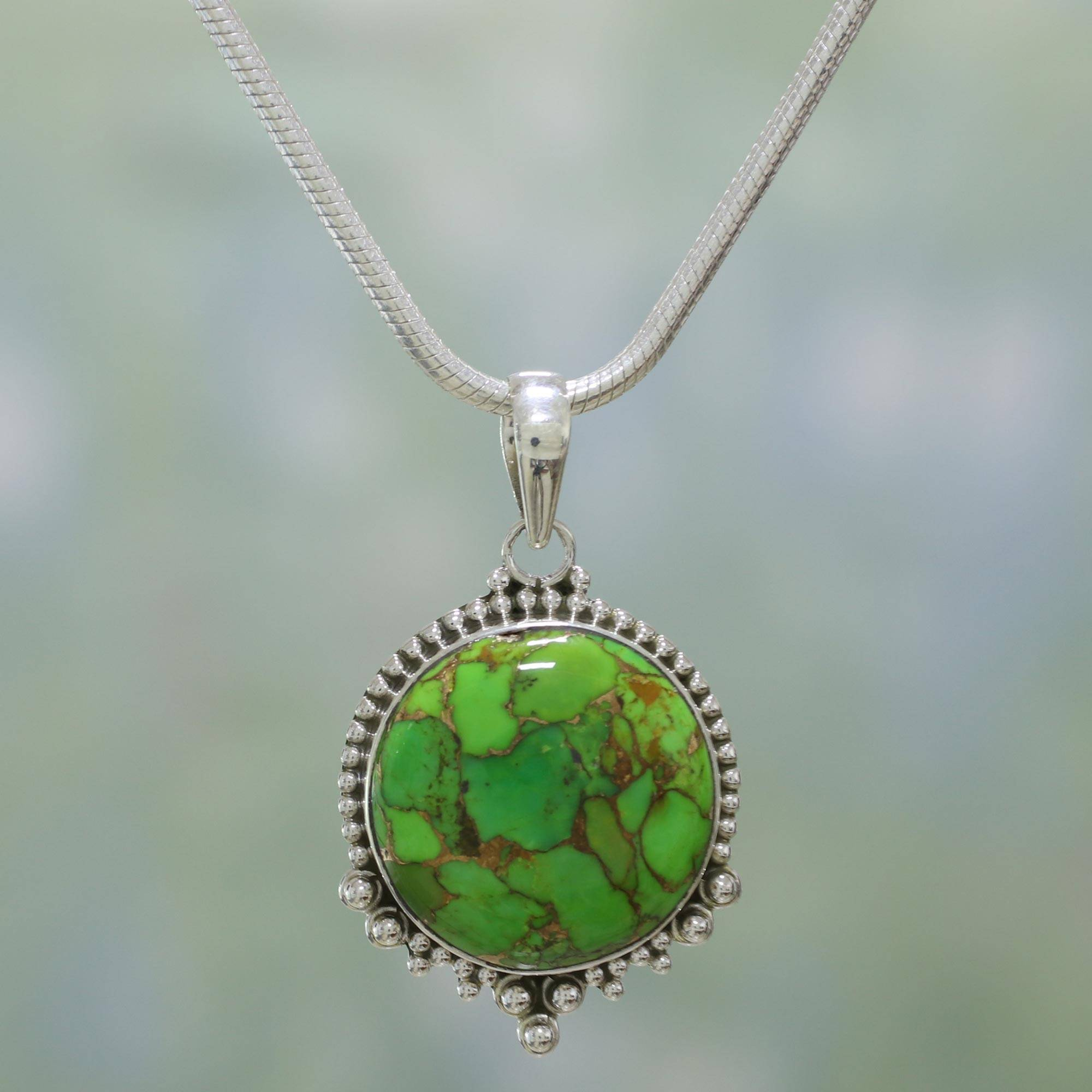 Green Radiance Indian Sterling Silver Green Composite Turquoise Necklace Turquoise - December's Birthstone