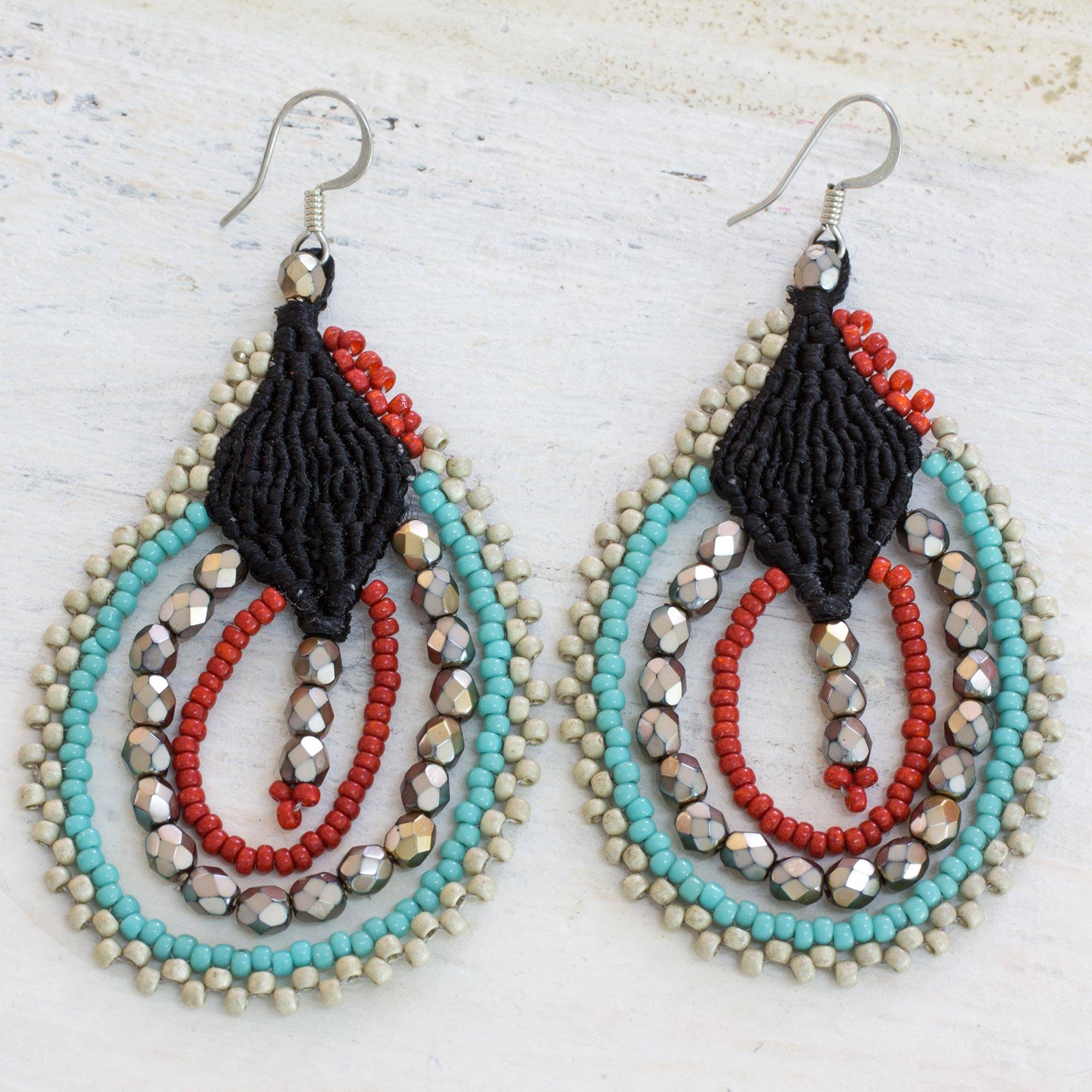 Inspiring Feasts Earrings Artisan Crafted Guatemalan Beaded Earrings in Blue and Red Ethnic Jewelry