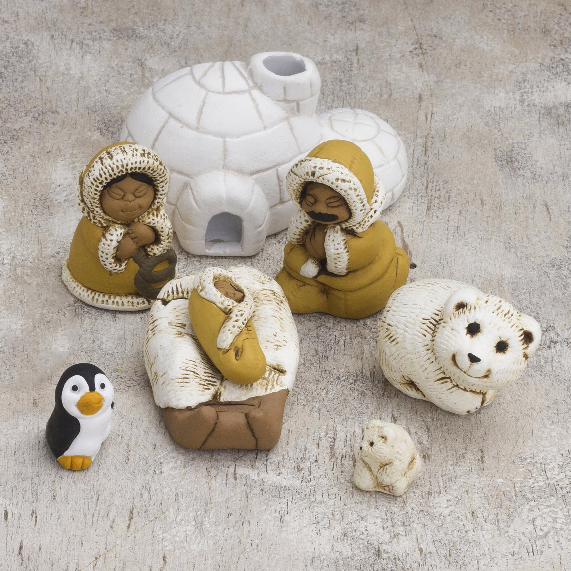 Inuit Family Inuit-Themed Ceramic Nativity Scene from Peru Get Your Home Ready for the Holidays
