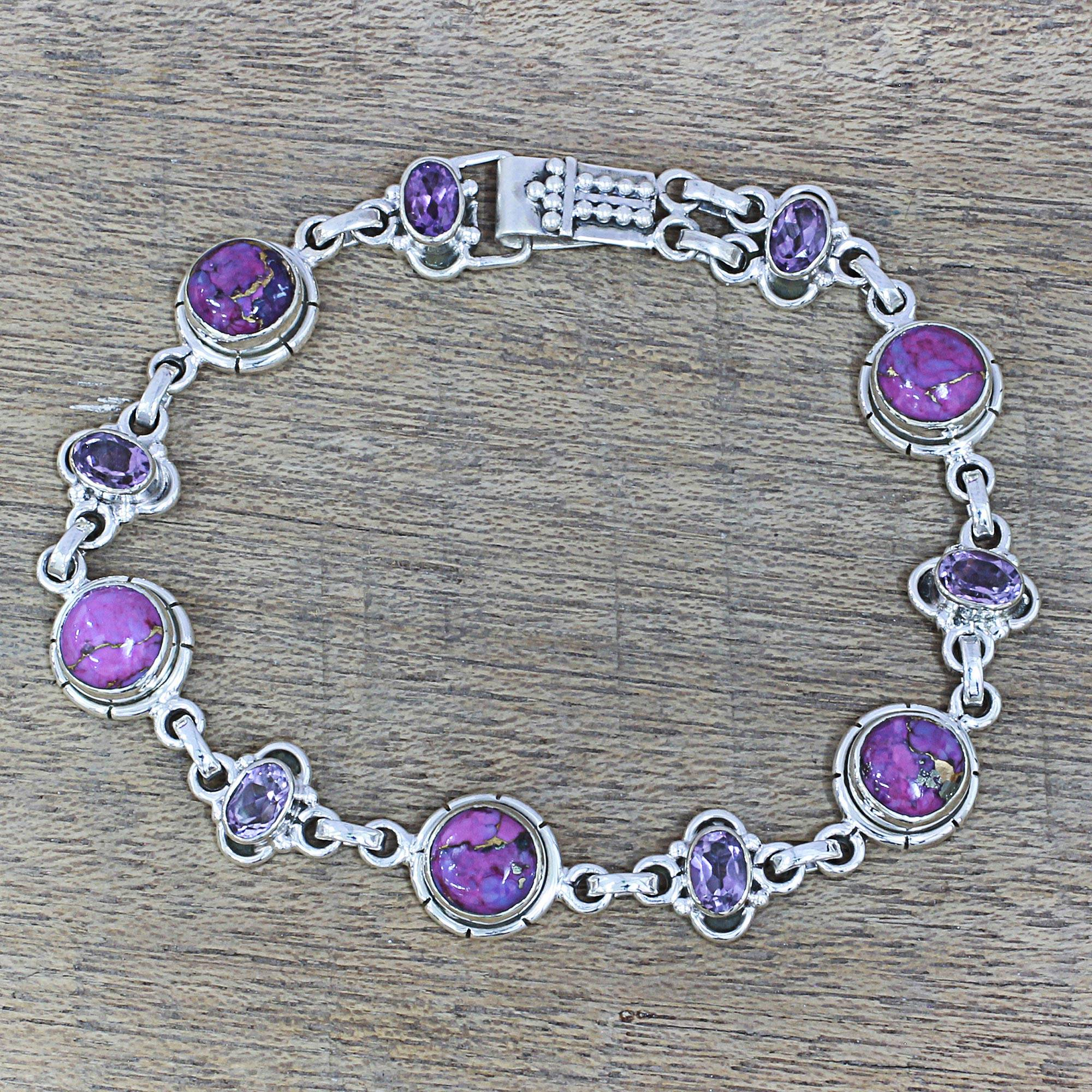 Purple Delight Amethyst and Purple Composite Turquoise Link Bracelet Sterling Silver Turquoise - December's Birthstone