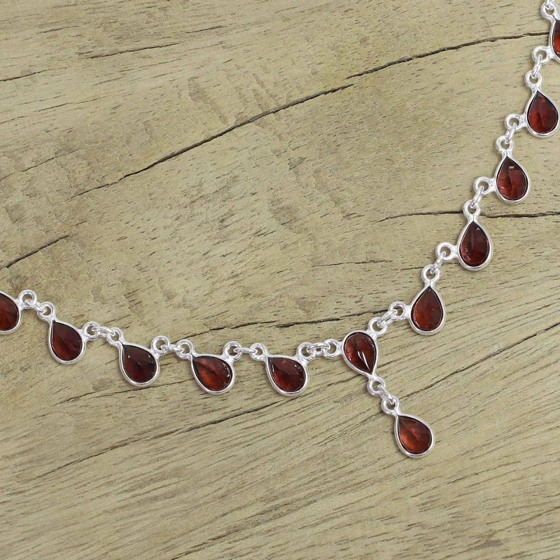 Scarlet Droplets Artisan Crafted Sterling Silver Waterfall Garnet Necklace Glimmering Garnet: January's Birthstone