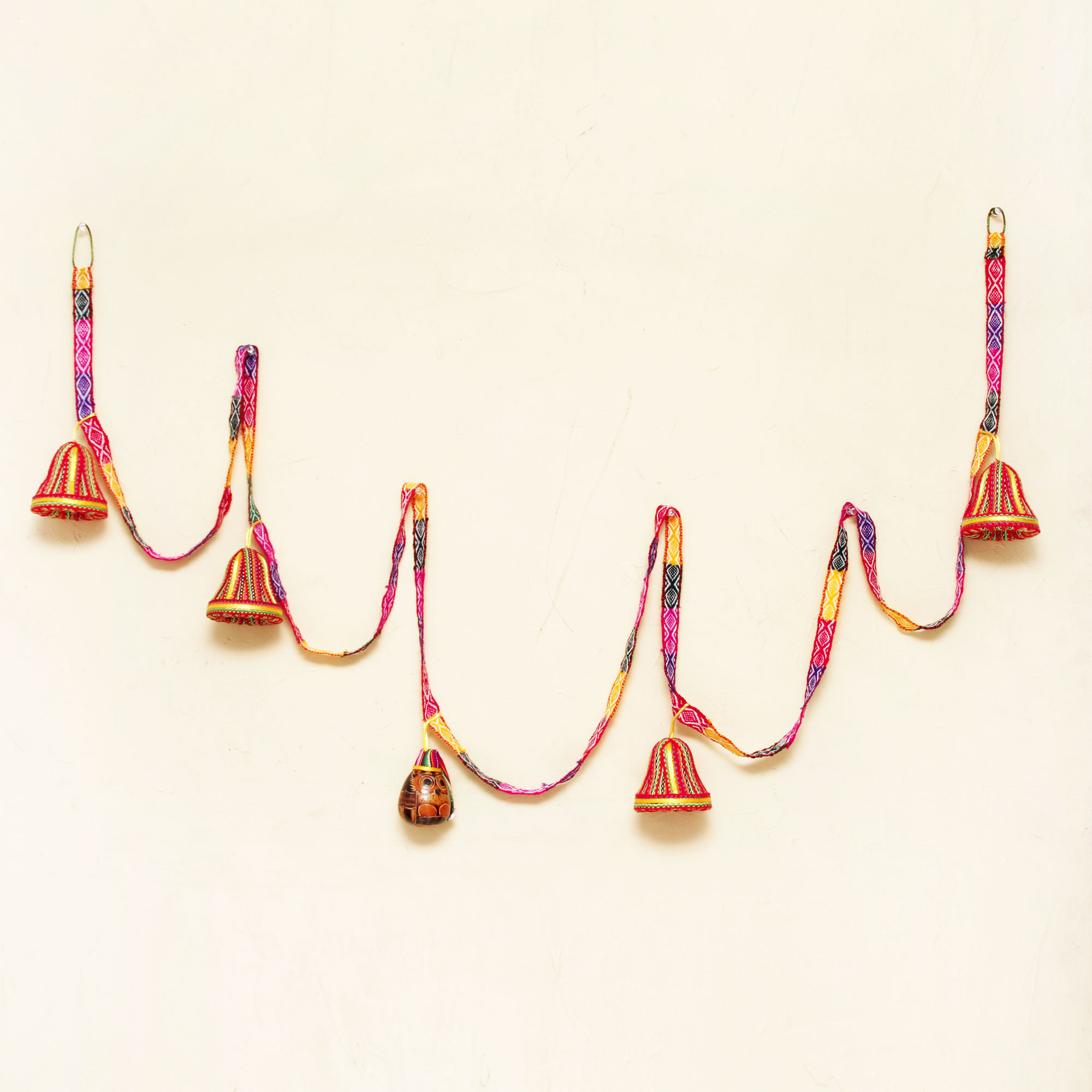 Mate gourd and cotton blend ornaments, 'Bell Garland' Get Your Home Ready for the Holidays