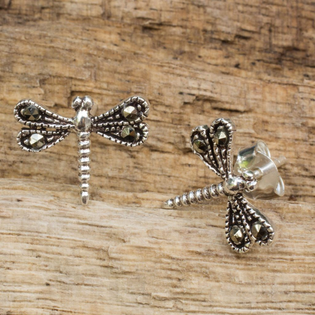 Petite Dragonflies Sterling Silver Artisan Crafted Stud Earrings from Thailand
