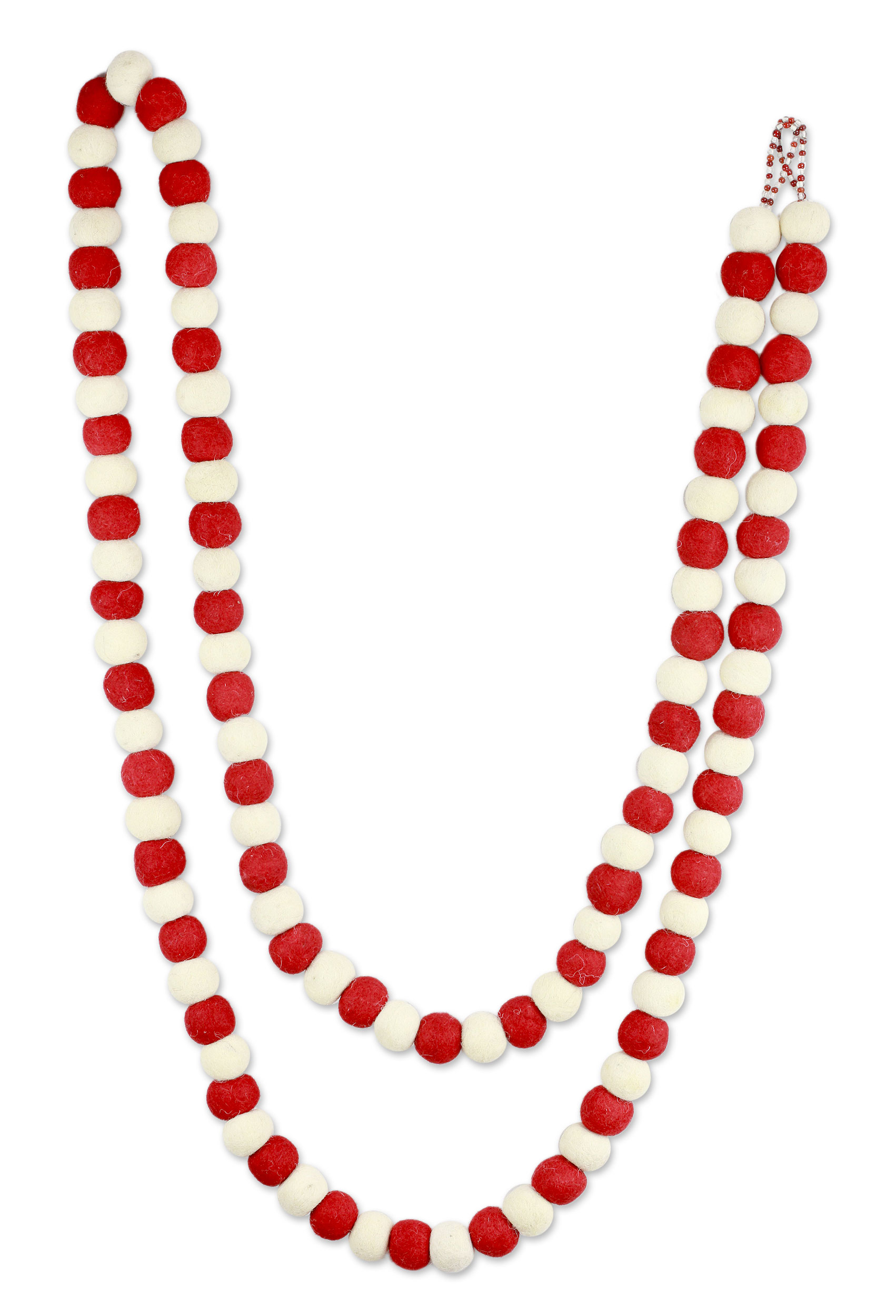 Candy Cane Pompoms Red and White Handmade Felt Holiday Garland Get Your Home Ready for the Holidays