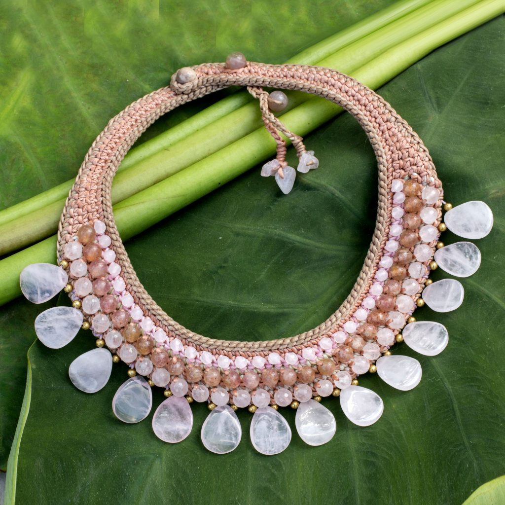 Rose quartz and aventurine choker, 'Dawn Rose' ethnic jewelry