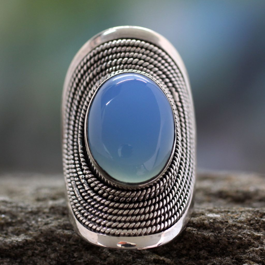Sterling silver Chalcedony cocktail ring, 'Jaipur Skies' ethnic jewelry