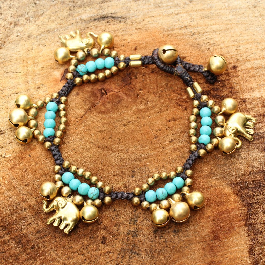 Fortune's Blue Melody Elephant and Bell Charm Bracelet in Blue Gems and Brass calcite ethnic jewelry