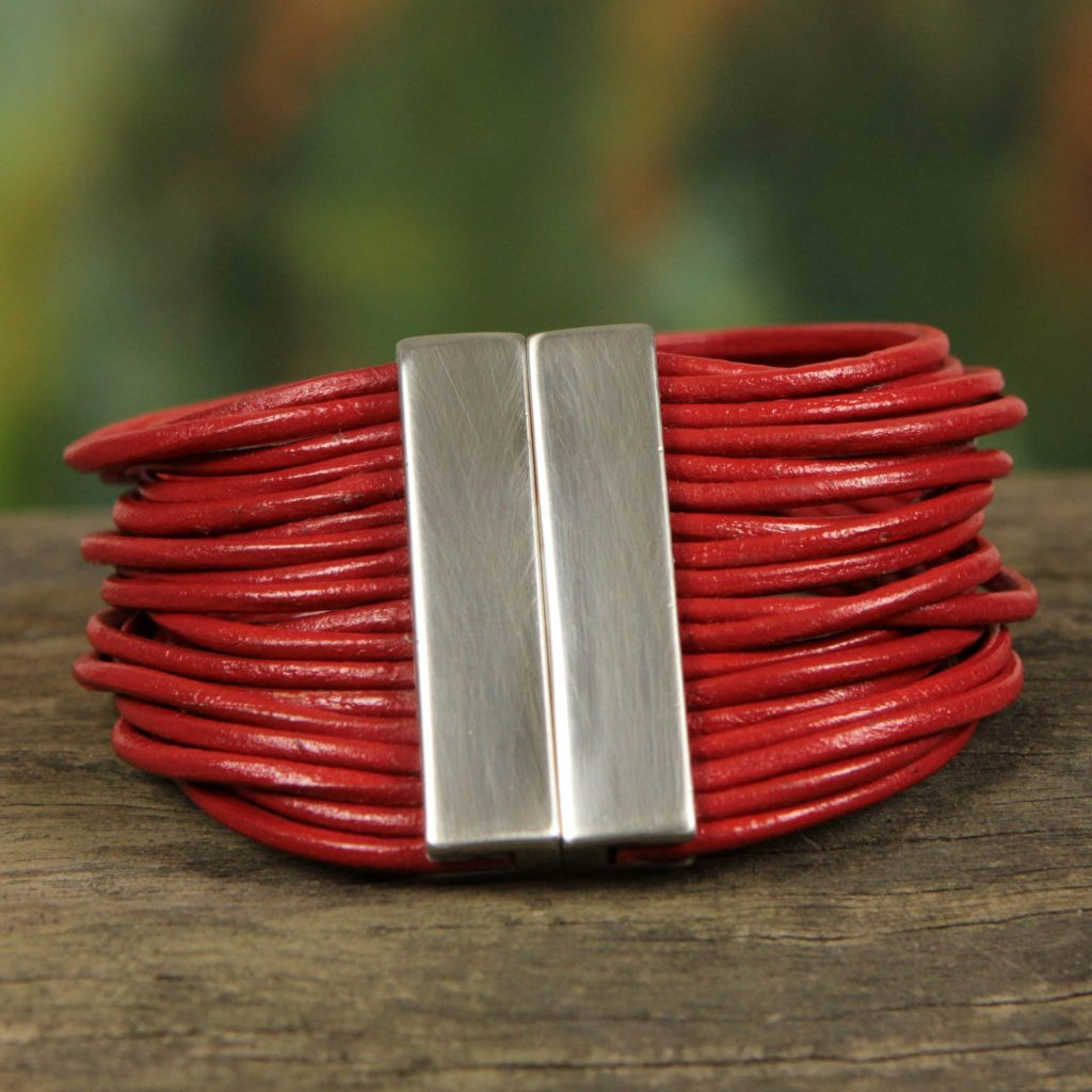 Red Brazilian Glam Women's Red Leather Bracelet ETHNIC JEWELRY