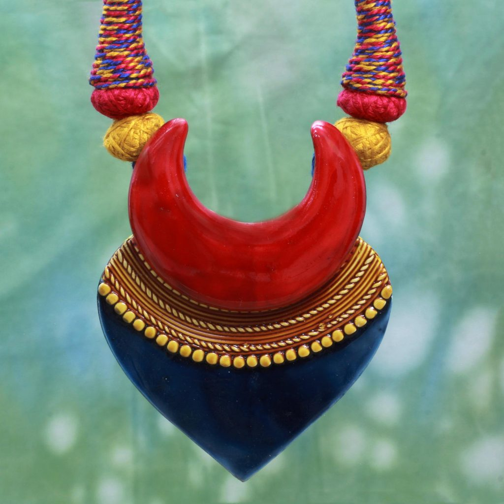 Bengali Belle Artisan Crafted Ceramic and Cotton Necklace Fair Trade ethnic jewelry