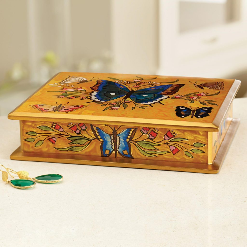 Butterfly Court Reverse Painted Glass on Wood Jewelry Box with Butterflies Holiday card