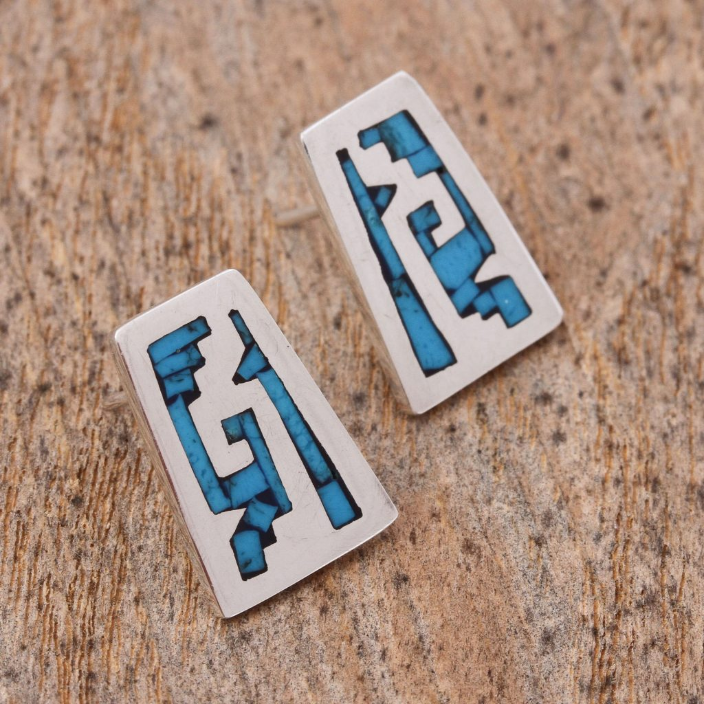 Sky Blue Pyramids Pre-Hispanic Sterling Silver Stud Earrings from Mexico