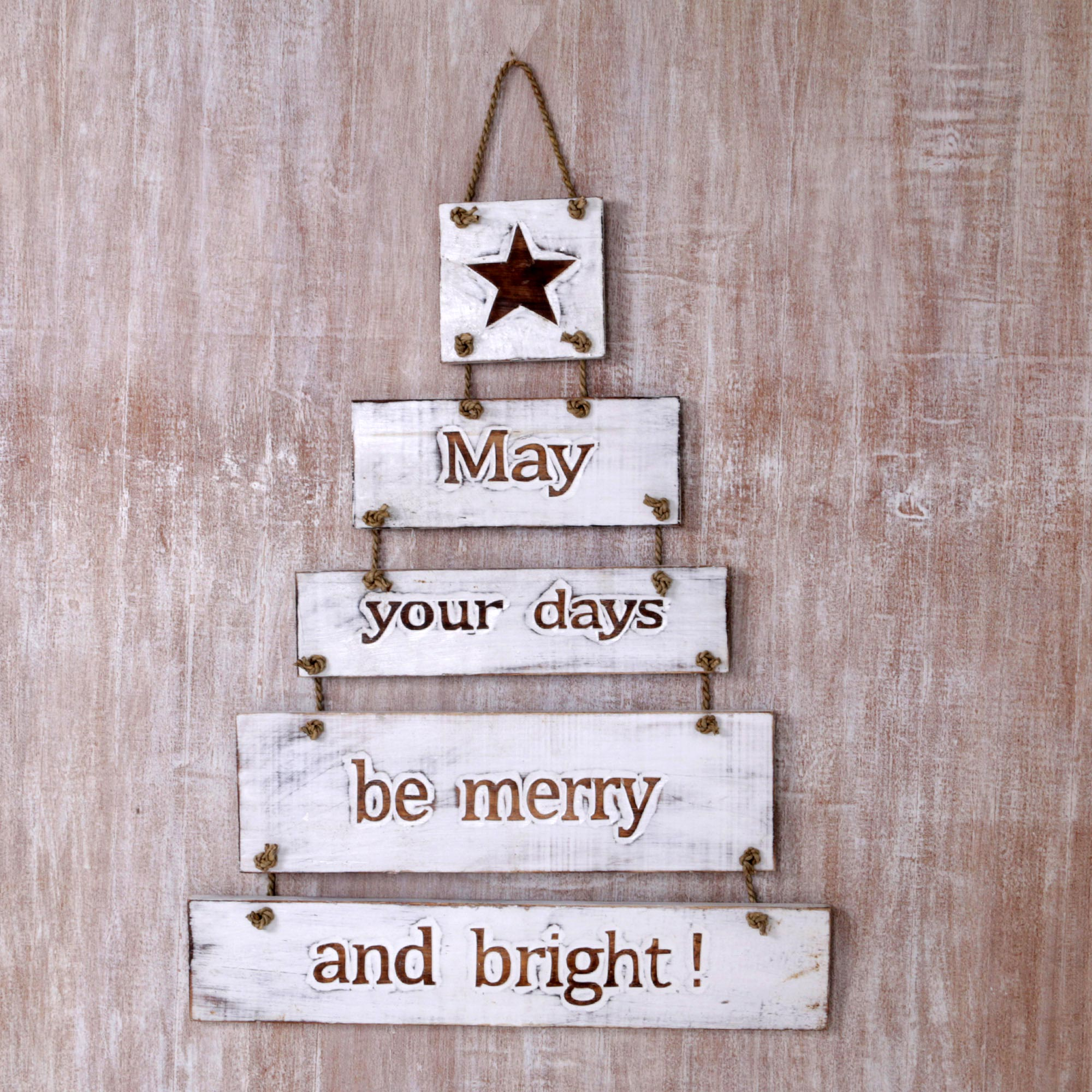 Good Wishes White Wood Multiple Layer Inspirational Sign from Indonesia wall art Get Your Home Ready for the Holidays