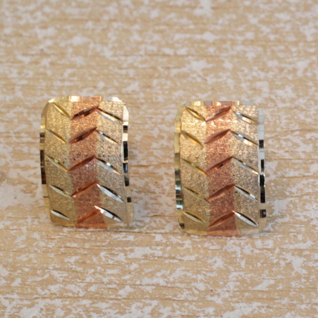 Zigzag Elegance Tricolor 10k Gold Stud Earrings from Brazil