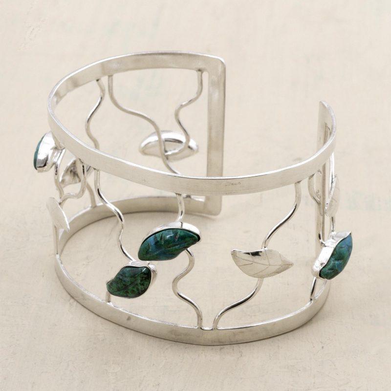 Chrysocolla flower bracelet, petals, sterling silver cuff Breathtaking Sterling Silver Jewelry