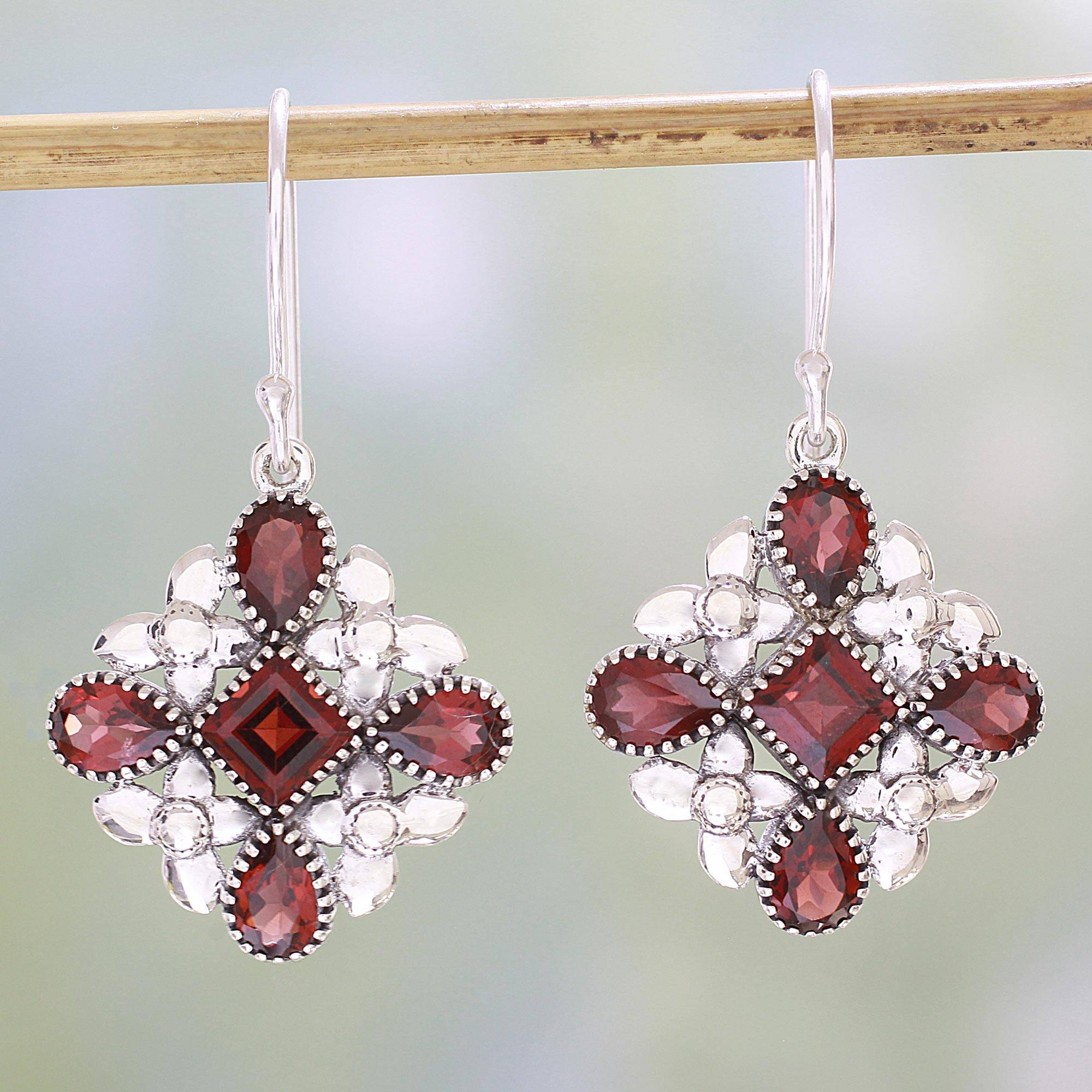 Butterfly Flowers in Red Garnet and Sterling Silver Dangle Earrings from India Garnet: january's Birthstone