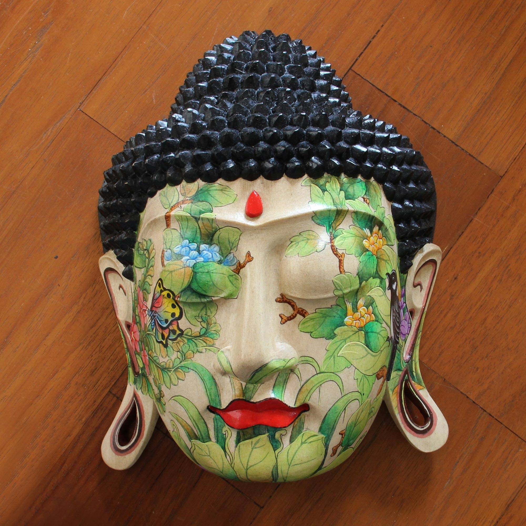 Delighted Buddha Hand Carved Hand Painted Wood Mask Wall Art Decorating with masks