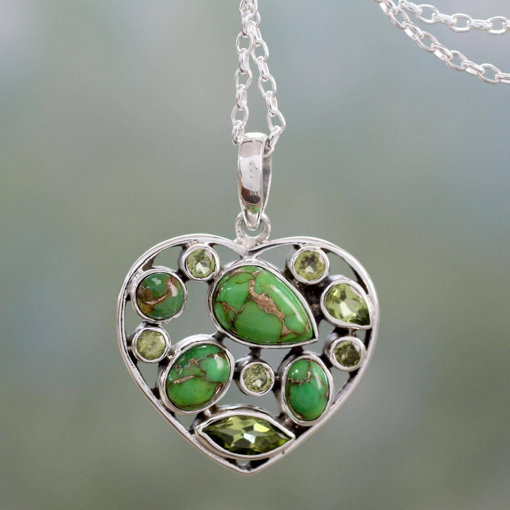Green Jaipuri Heart Handmade Peridot and Sterling Silver Green Heart Necklace be my valentine