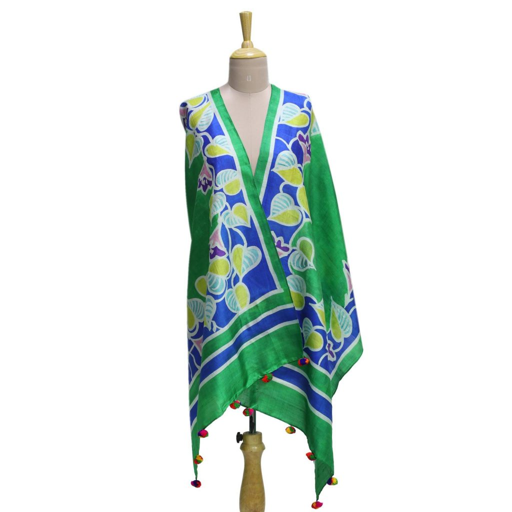 A Heart For Nature be my valentine Silk Shawl in Emerald with Hand-Painted Leaf Motifs