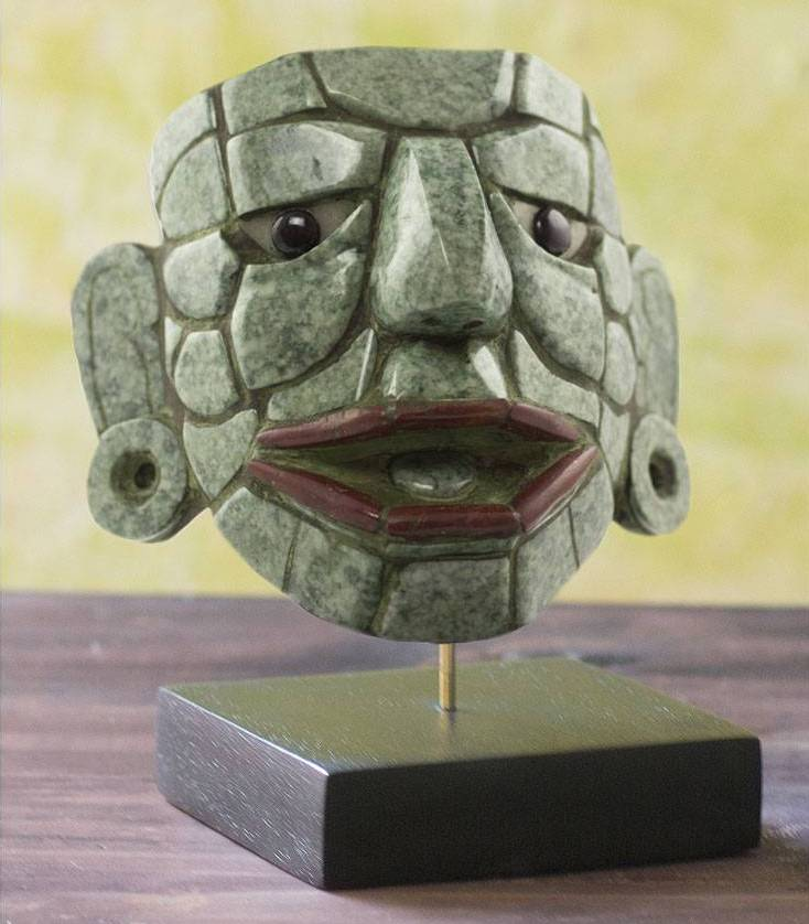Jade mask, 'Maya Lord of El Naranjo Guatemalan art decorating with masks