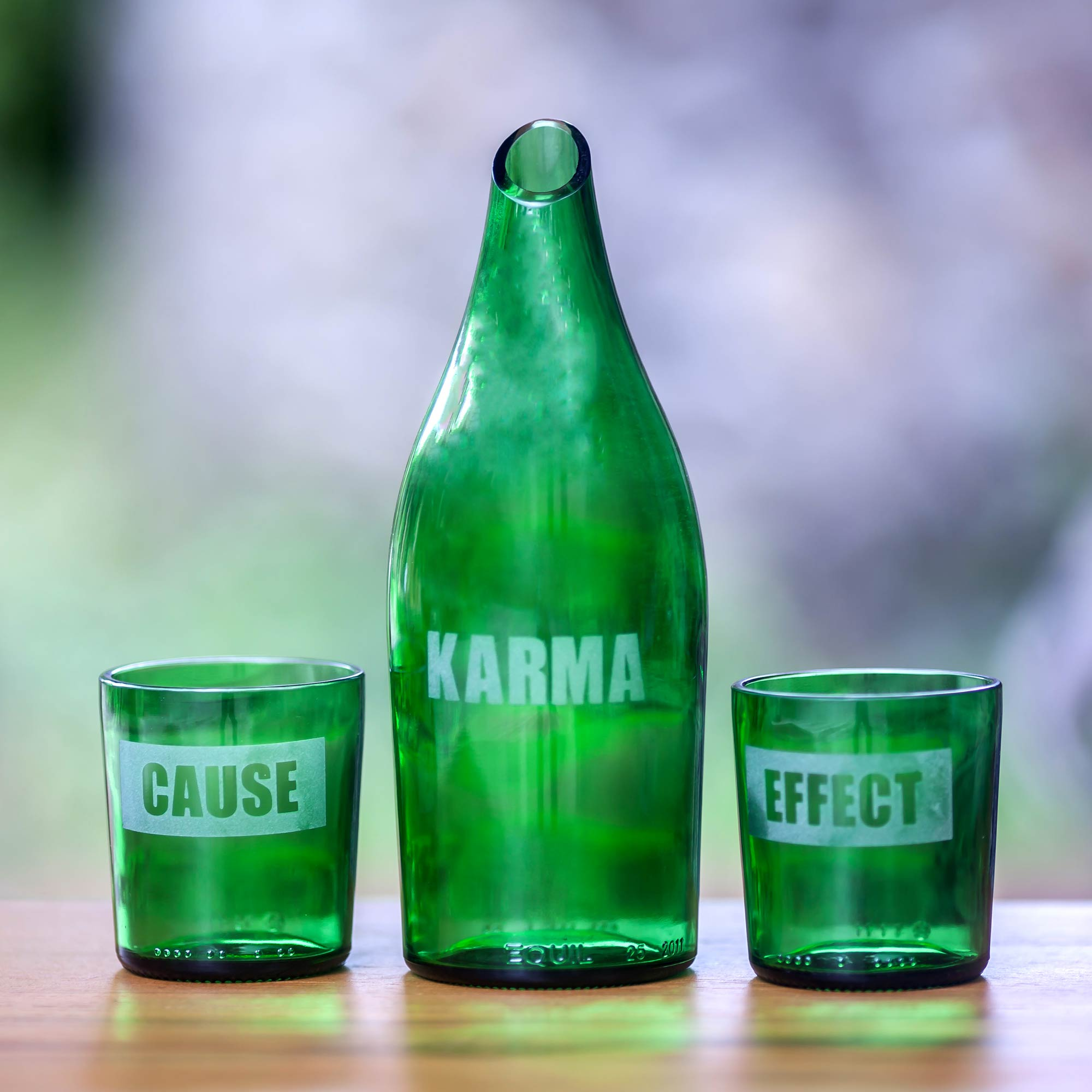 Karma Effect Recycled glass carafe and glasses go eco-friendly