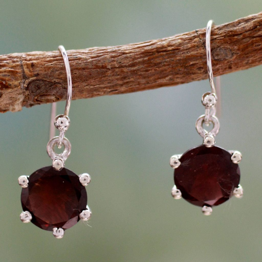 Scarlet Solitaire Earrings Handcrafted Garnet and Sterling Silver Dangle Glimmering Garnet: January's Birthstone
