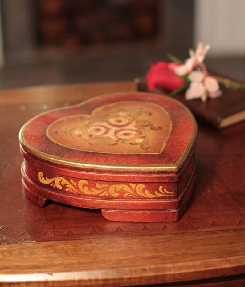 Timeless Love Women's Heart Shaped Handmade Cedar Jewelry Box be my valentine