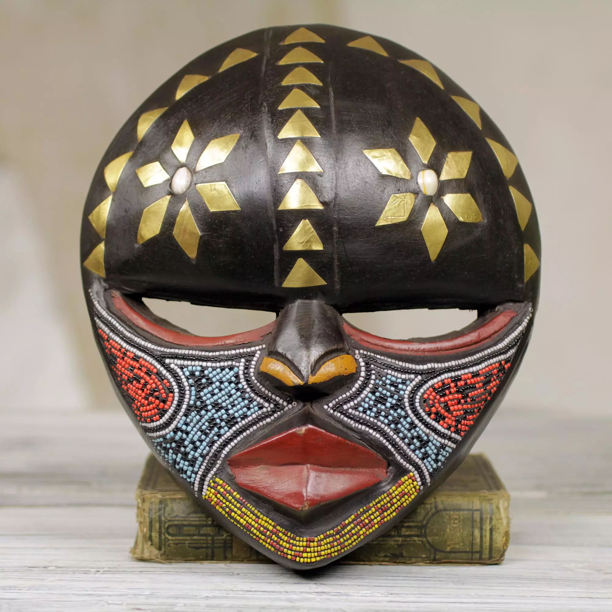 Barowa Mask Hand Crafted African Wood Mask Wall Art multi-colored recycled glass beads Decorating with Masks brass plated