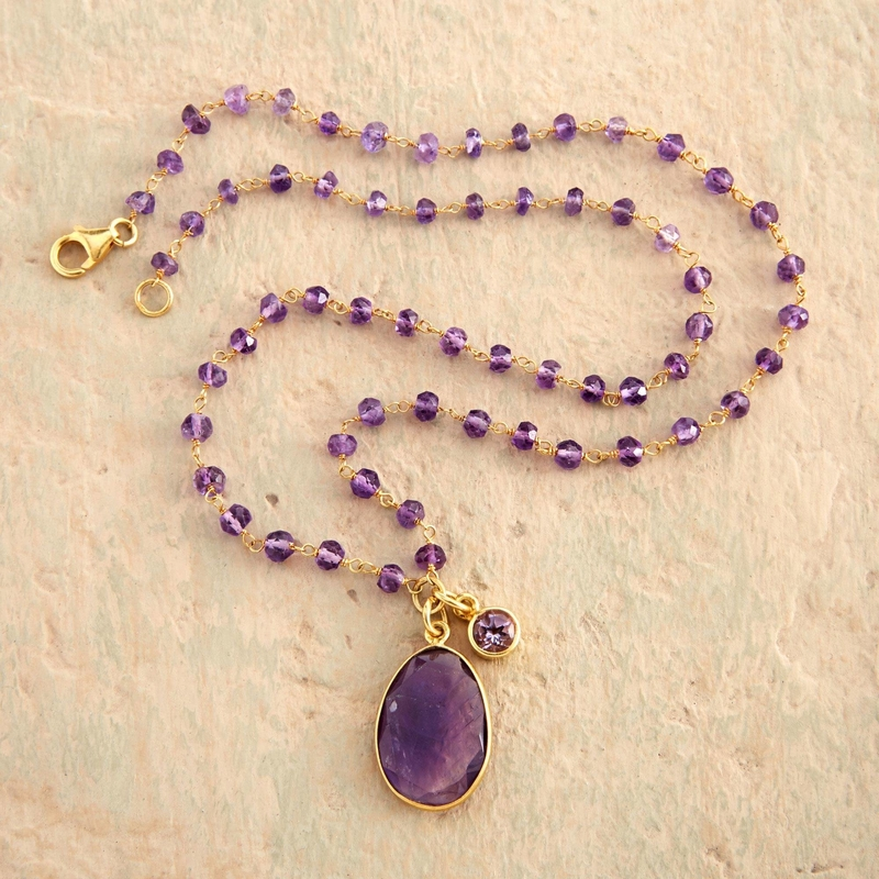 Raja's Treasure Indian Faceted Amethyst Necklace 14 carat gold-plated sterling silver Amethyst February's brithstone