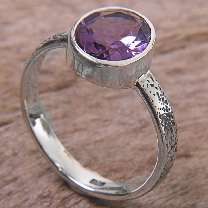 Simply in Purple Hand Made Amethyst and Silver Solitaire Ring from Indonesia Amethyst February's birthstone