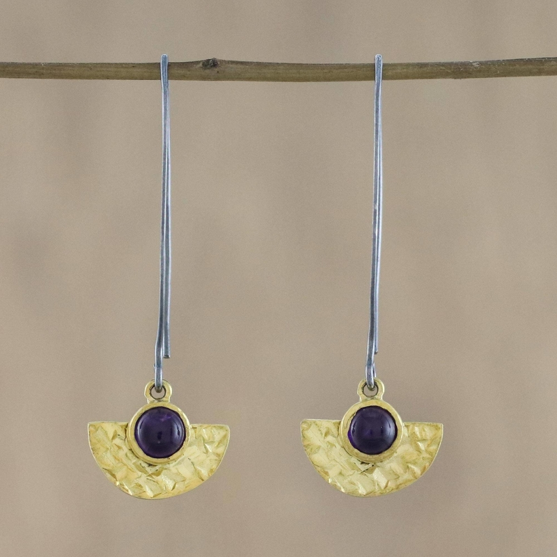 Lovely Half-Moons 18k Gold Plated Amethyst Dangle Earrings from Thailand Amethyst February's birthstone