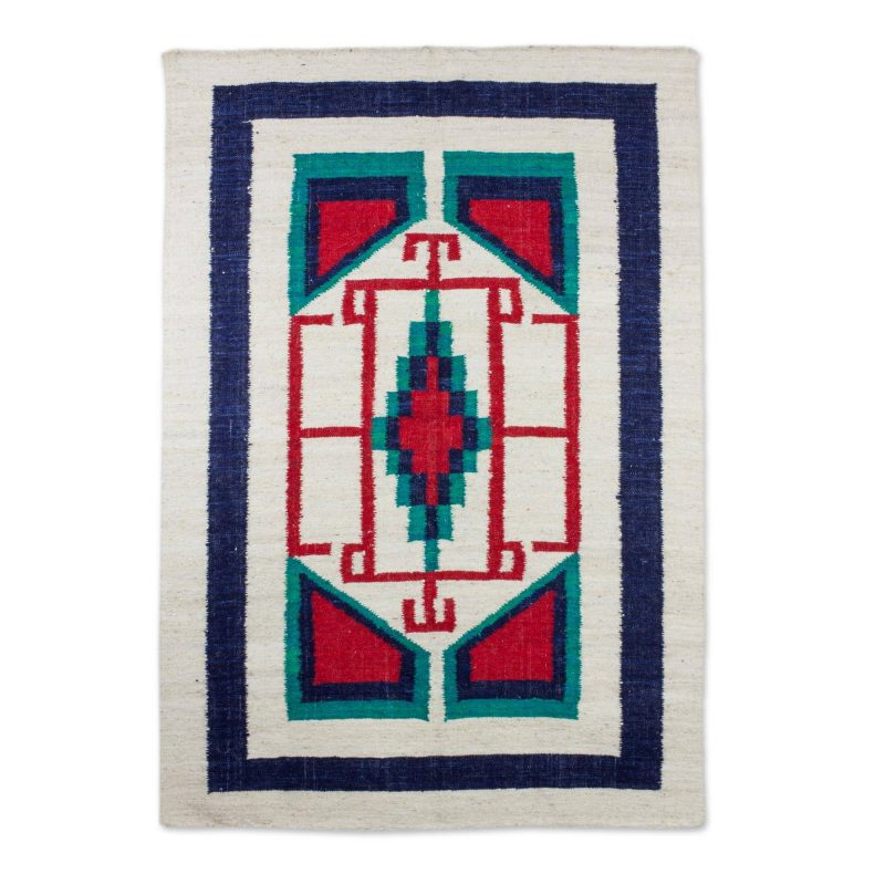 Central Star Hand Made Geometric Pattern Wool Area Rug from Guatemala, Area rugs