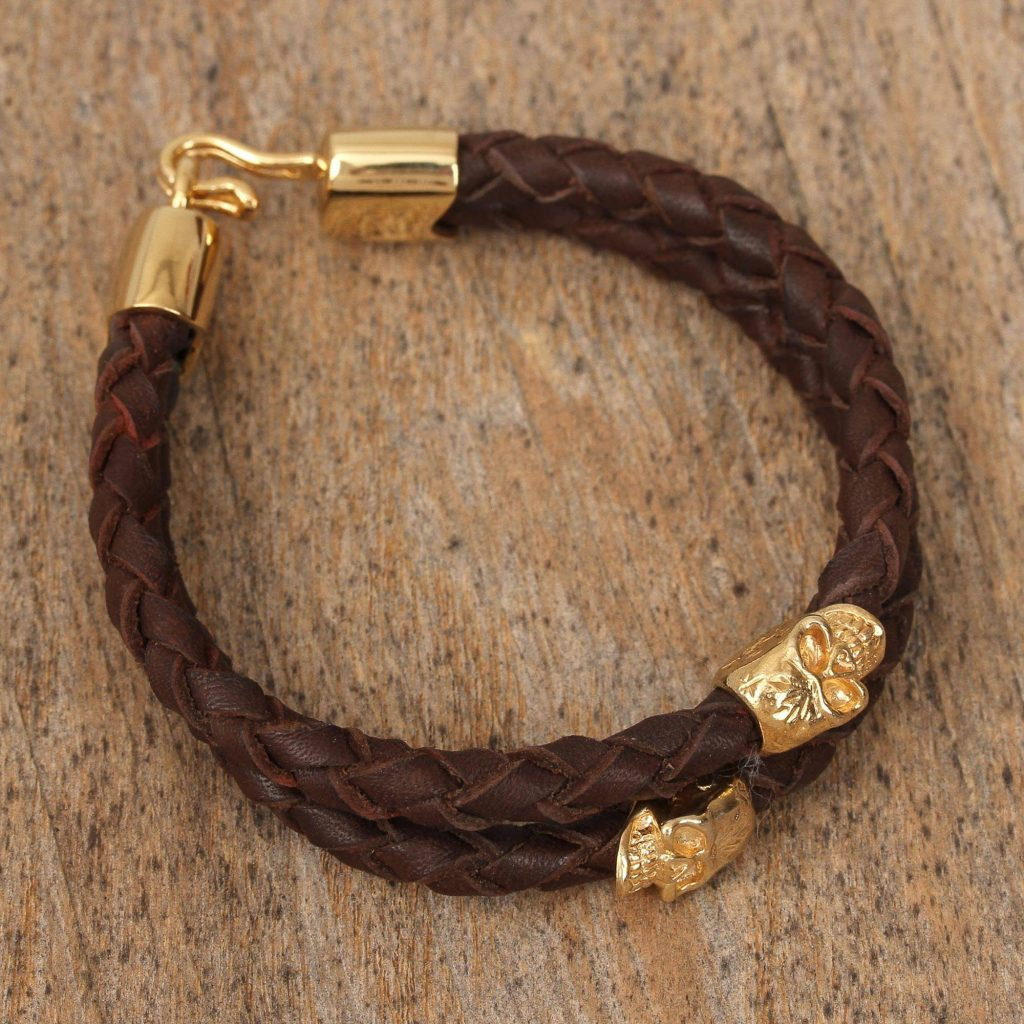 Death and Life Mexican Double Strand Braided Leather Bracelet in Brown 18k gold-plated brass skull be my valentine