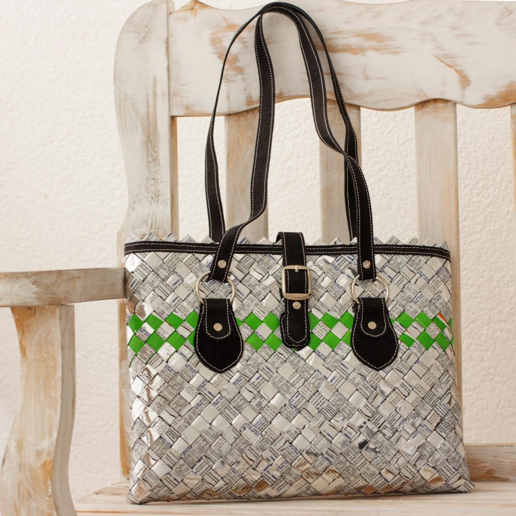 Eco Elegance Eco Shoulder Bag Handmade of Upcycled Metalized Wrappers go eco-friendly