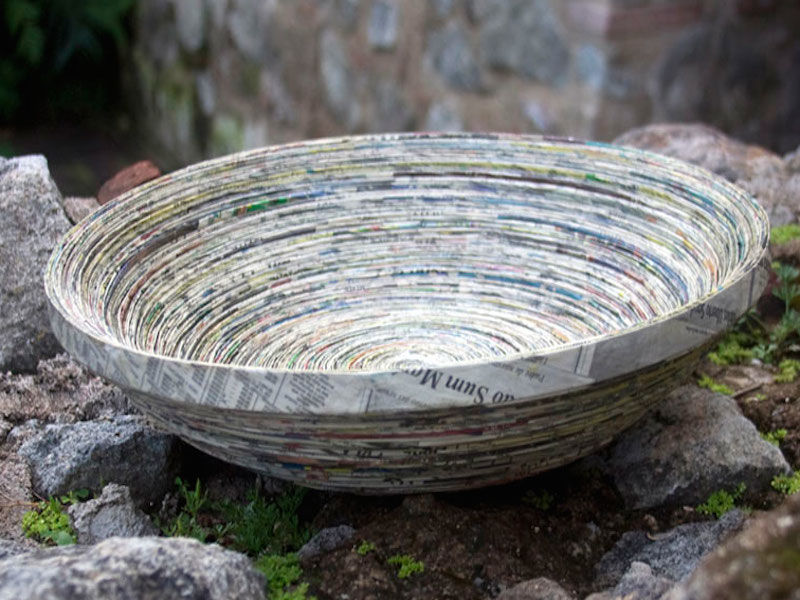 Endless Story Unique Modern Paper Recycled Bowl Centerpiece go eco-friendly