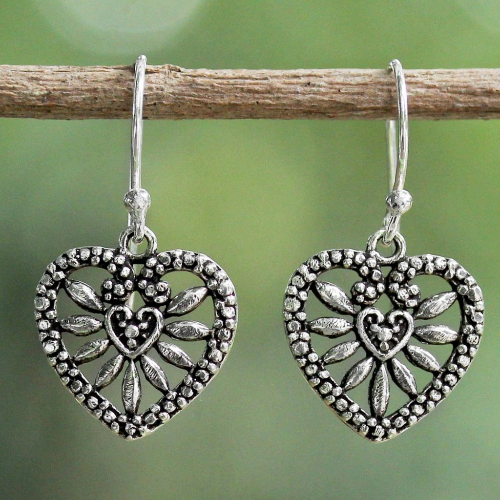 Heart Blooms Heart Shaped Sterling Silver Dangle Earrings from Thailand be my valentine