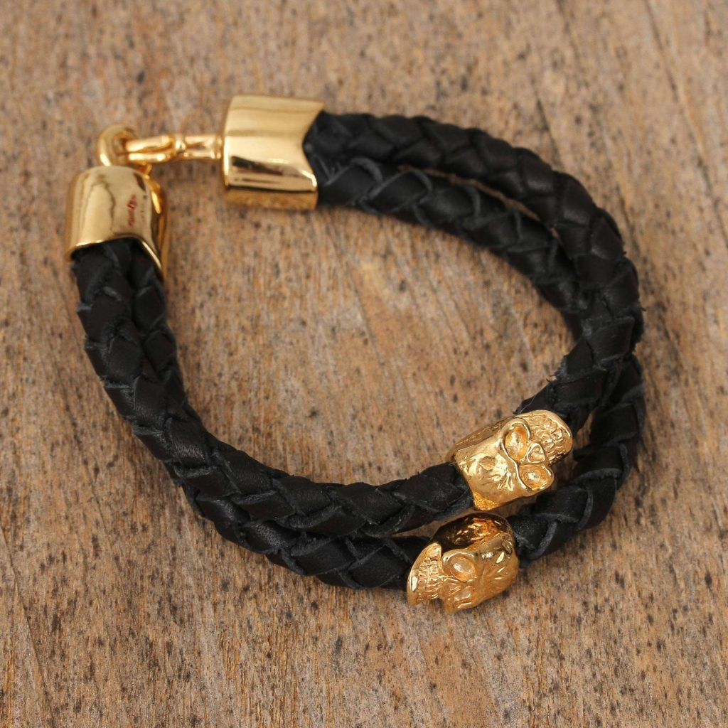 Life and Death Life and Death Black Double Strand Braided Leather Bracelet from Mexico 18k gold-plated skull be my valentine