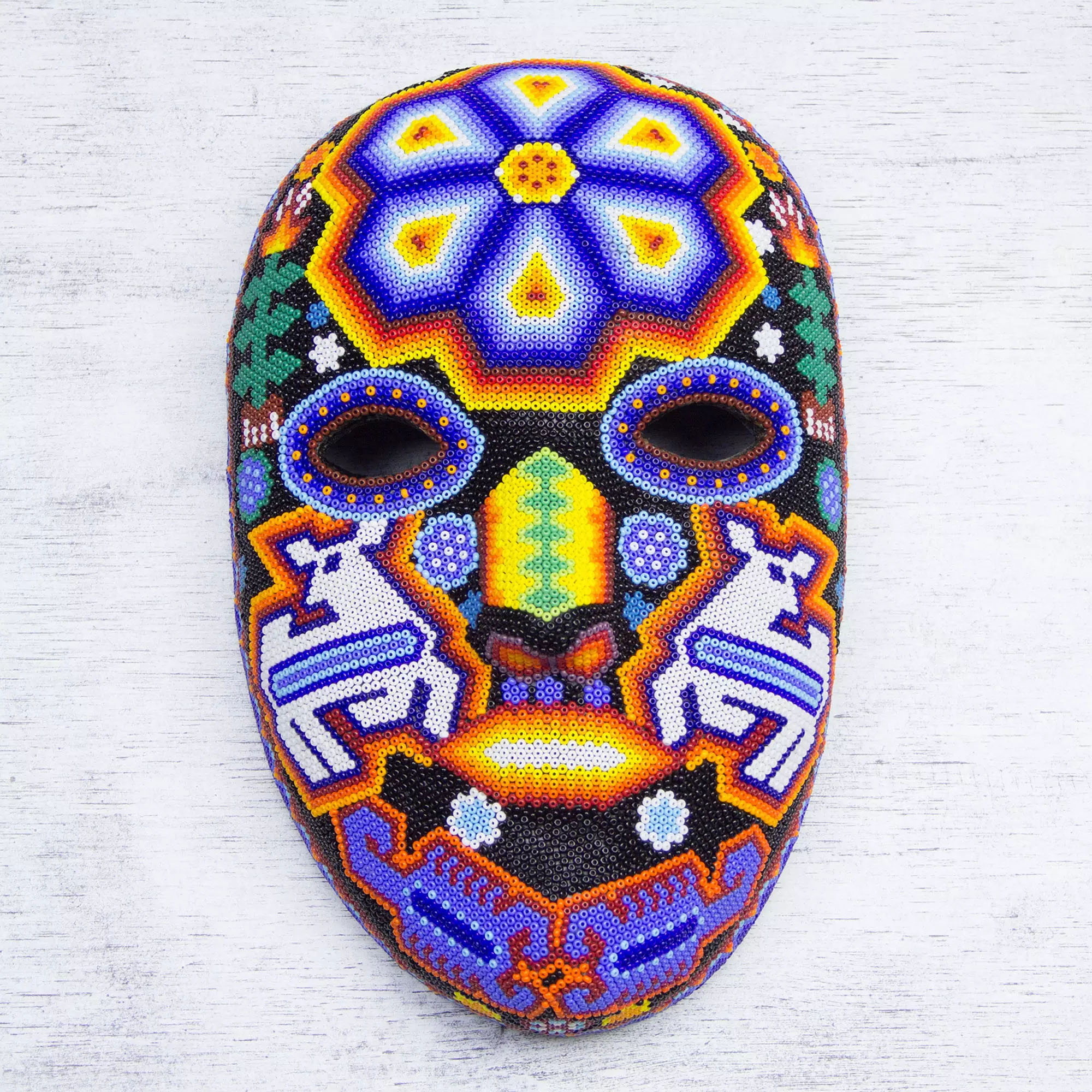 Shaman Deer Authentic Mexican Multicolor Beadwork Mask Wall Art Decorating with Masks