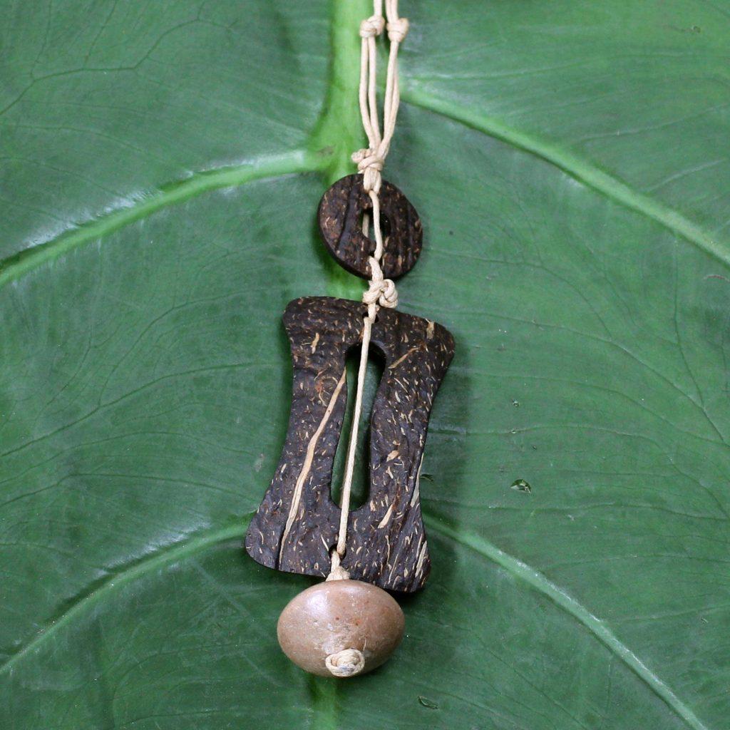 Traveler Men's Coconut Shell Pendant Necklace Going Eco-friendly