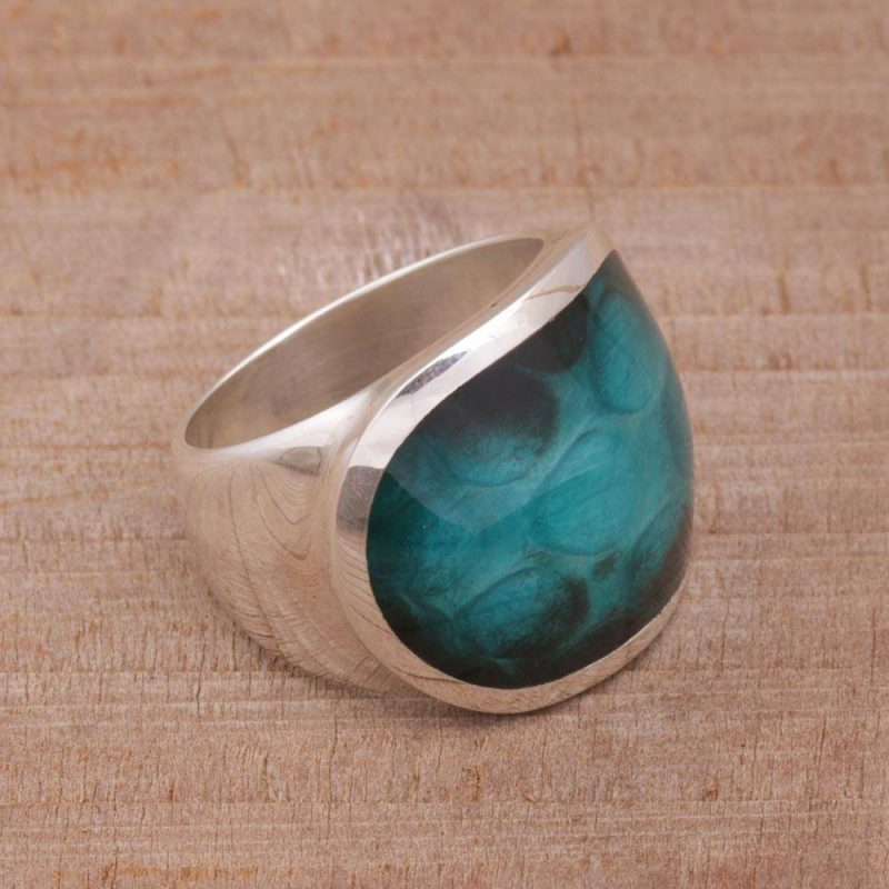 Teal Cyclops Unique Sterling Silver and Resin Unisex Ring, silver rings, unisex rings Breathtaking Sterling Silver Jewelry