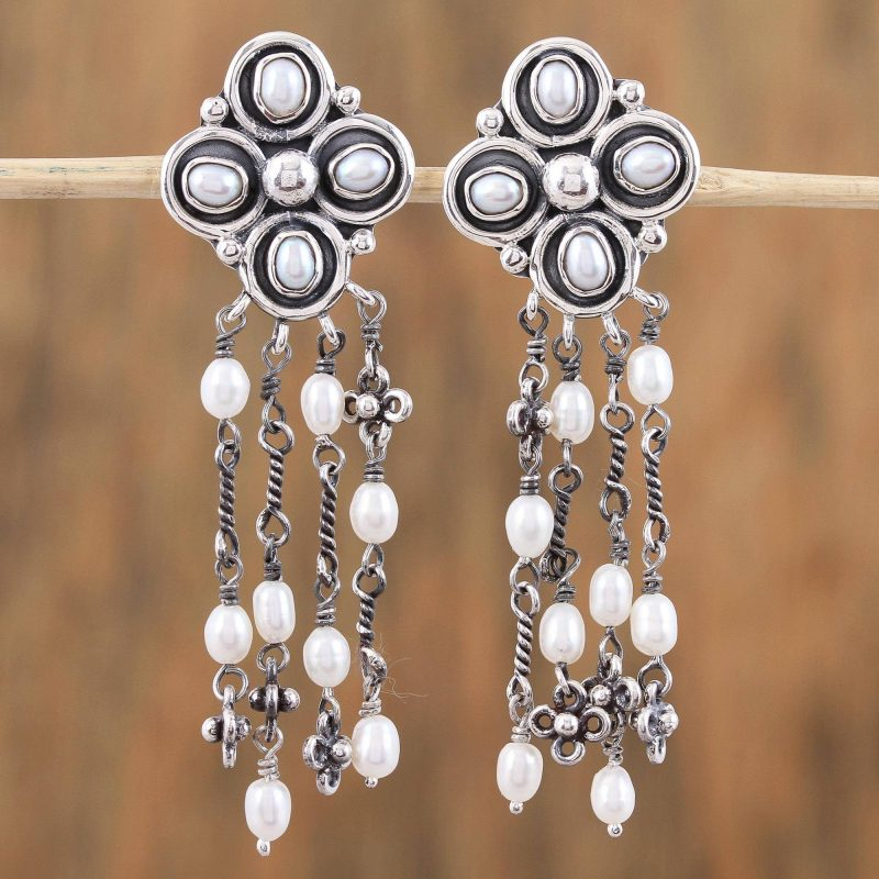Cultured Pearl and Sterling Silver Waterfall Earrings, oxidized finish silver pearls, pearl earrings